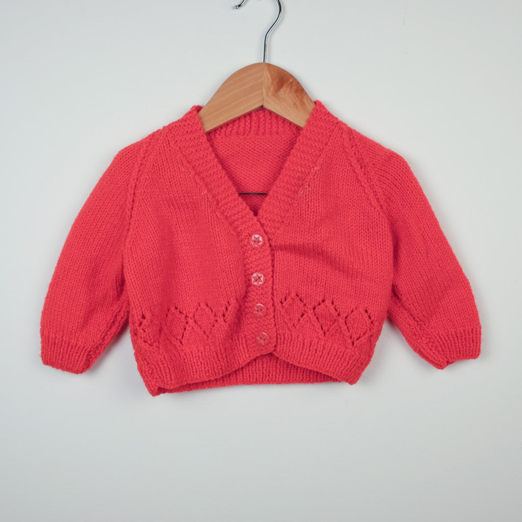 Red Hand Knitted Cardigan