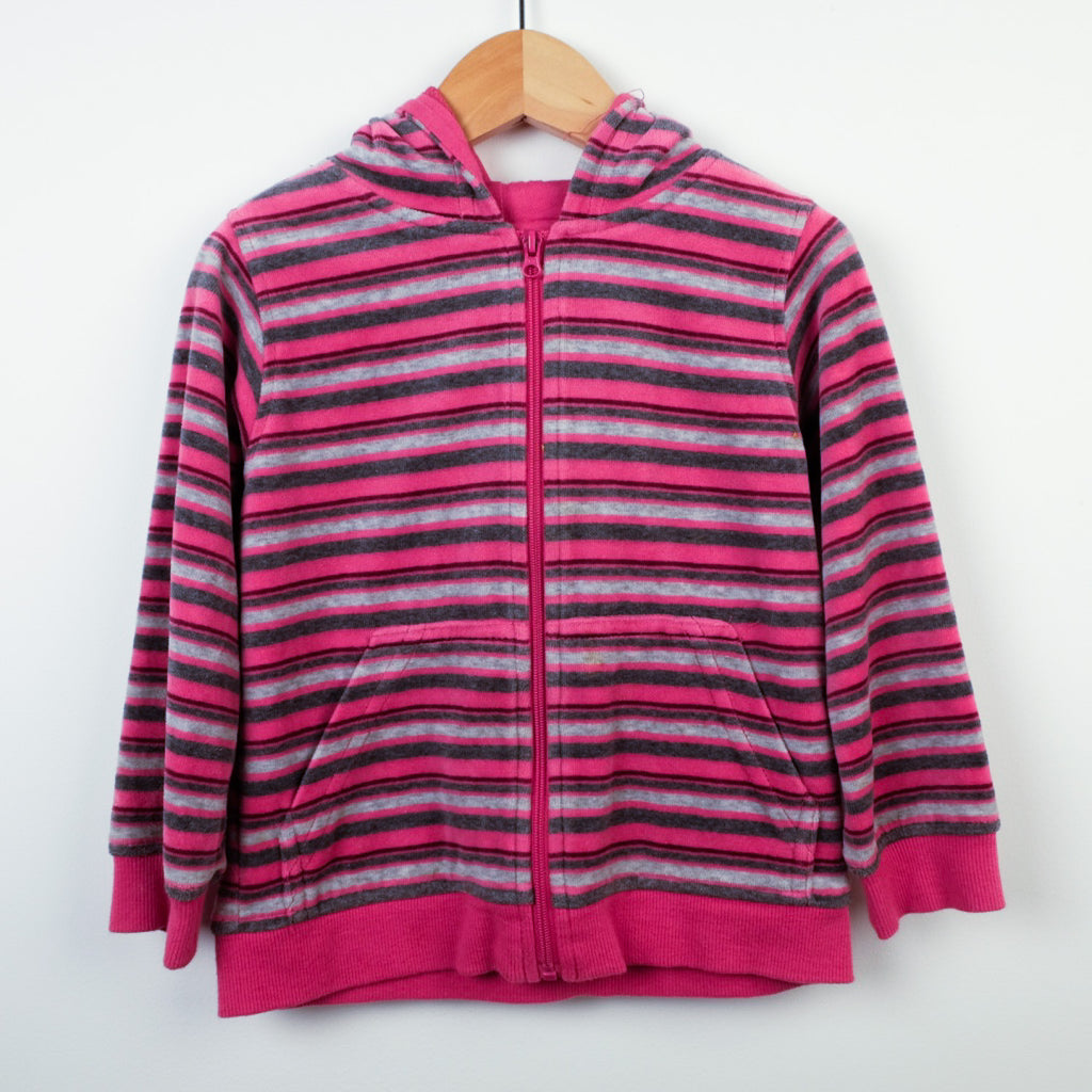 Velour Striped Hoodie