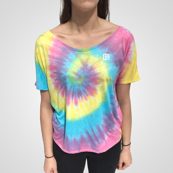 tie dye spiral crop top by culture apparel