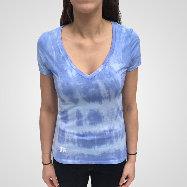 blue tie dye v neck t-shirt from culture apparel