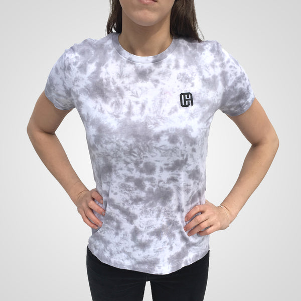grey scrunched tie dye t-shirt from culture apparel