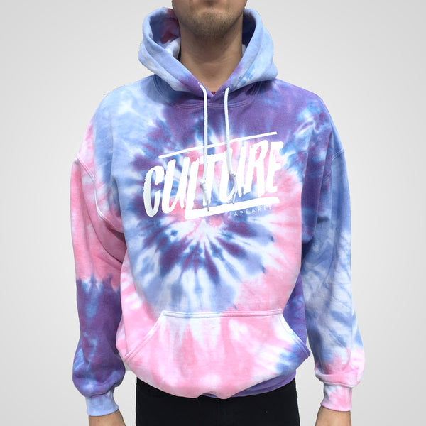 Pink blue and purple spiral tie dye hoodie by Culture