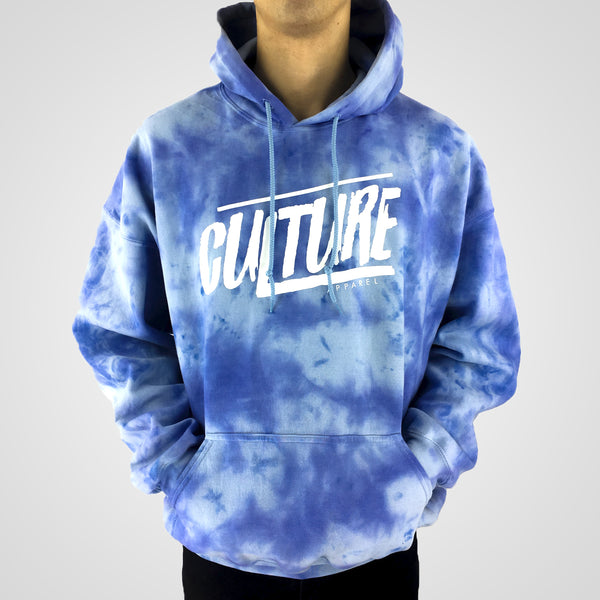 blue scrunched tie dye hoodie culture apparel