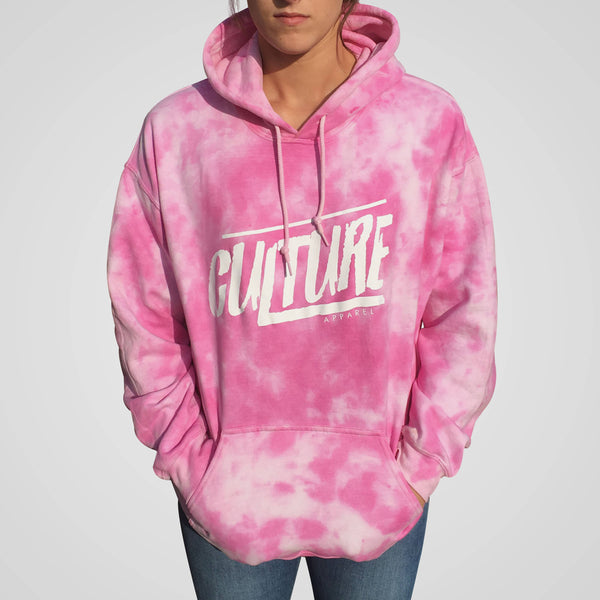 pink scrunched tie dye women's hoodie from culture apparel