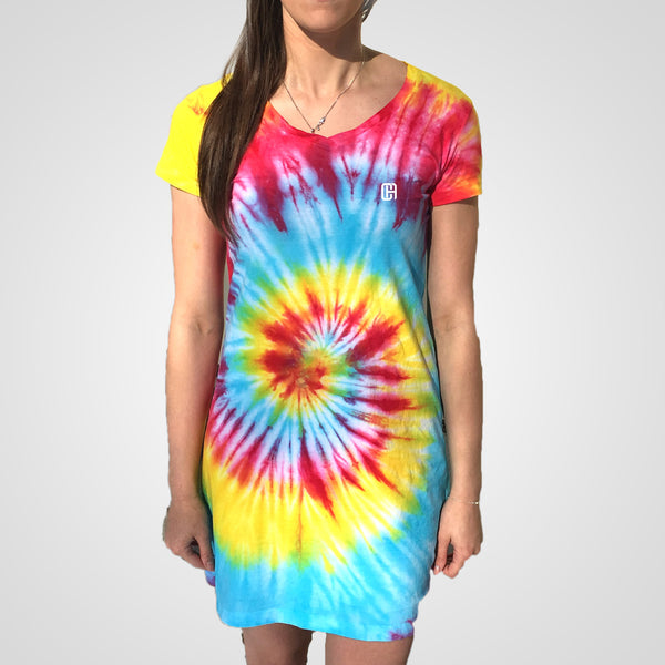 usa rainbow bright spiral tie dye t-shirt dress from culture apparel