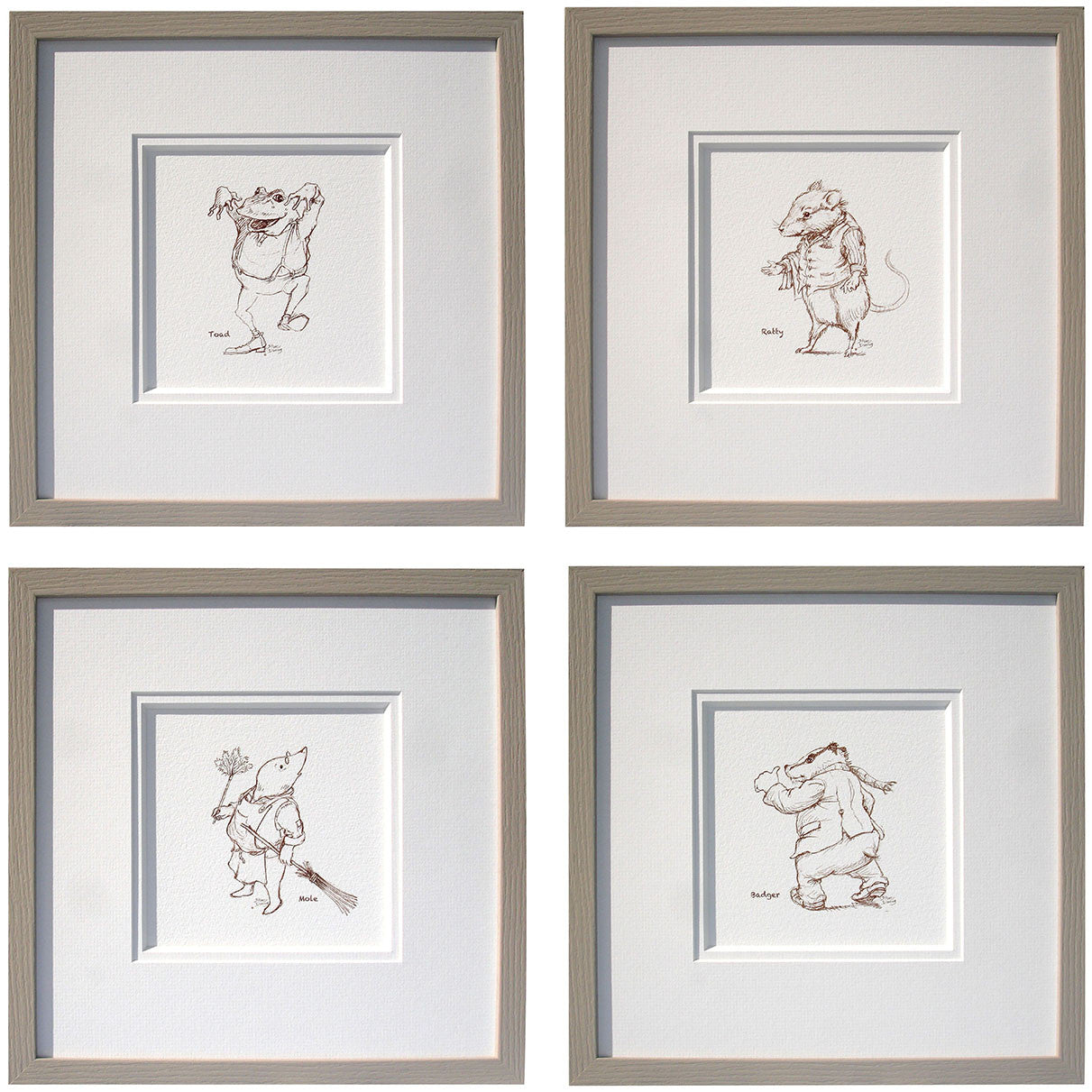 Wind in the Willows set of 4 Nursery Sketch Prints - Ellerby England