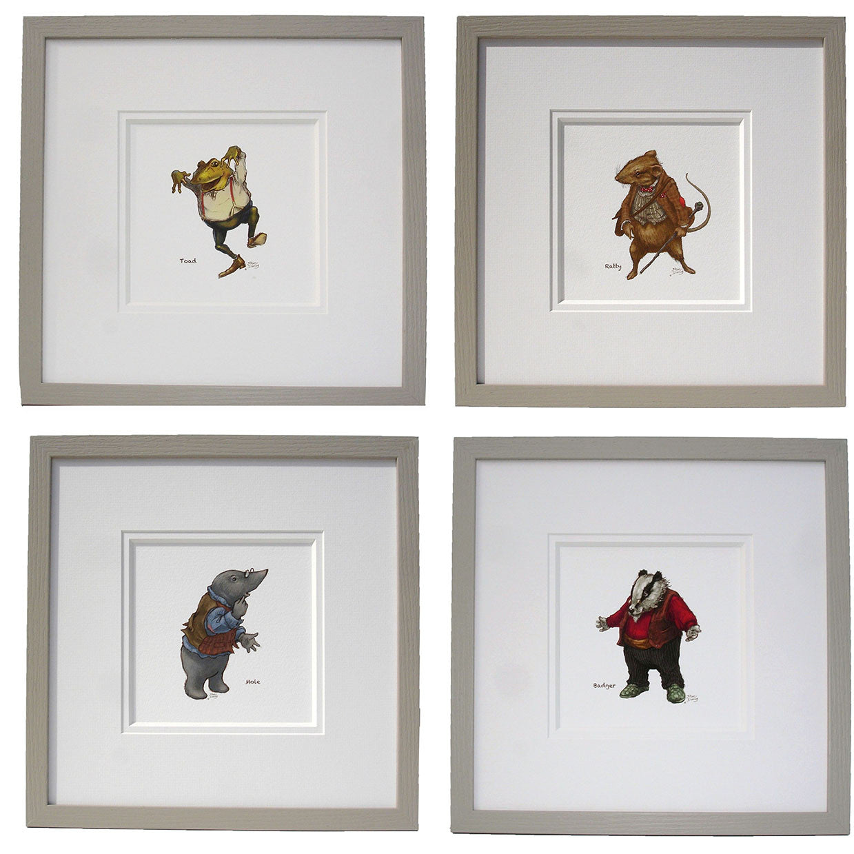 Wind in the Willows set of 4 colour Nursery Prints - Ellerby England