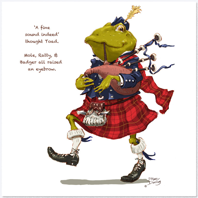Toad Goes... 'Piping' - Greetings Card