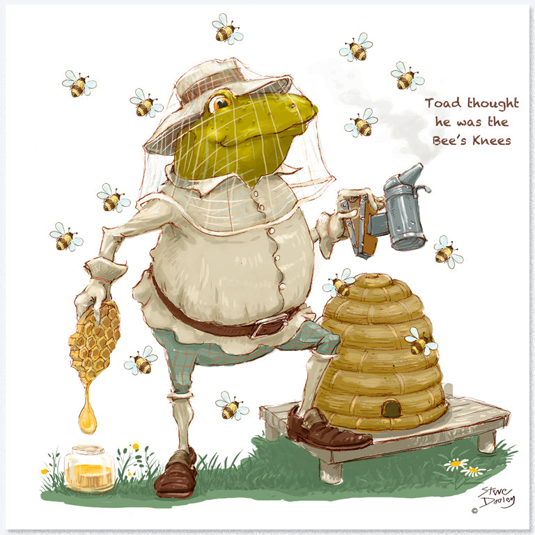 Toad Goes... 'Beekeeping' - Greetings Card