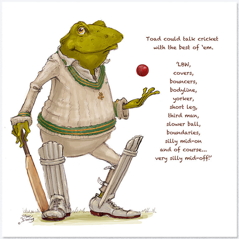 Toad Goes... 'Silly mid-off' - Greetings Card - Ellerby England