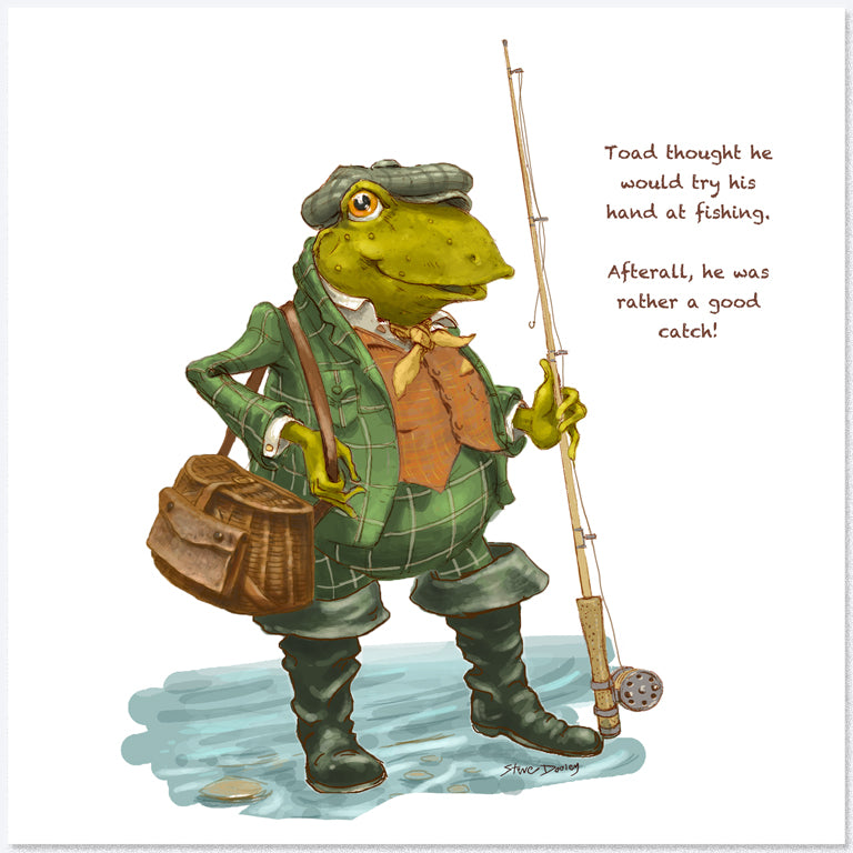 Toad Goes... 'Fishing' - Greetings Card