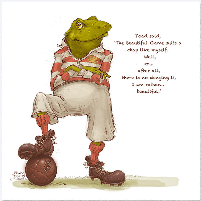 Toad goes... 'The Beautiful Game' - Greetings Card - Ellerby England