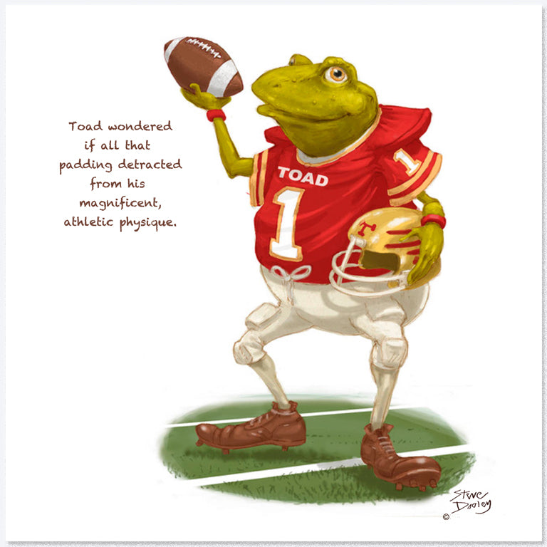 Toad Goes... 'American Football' - Greetings Card - Ellerby England