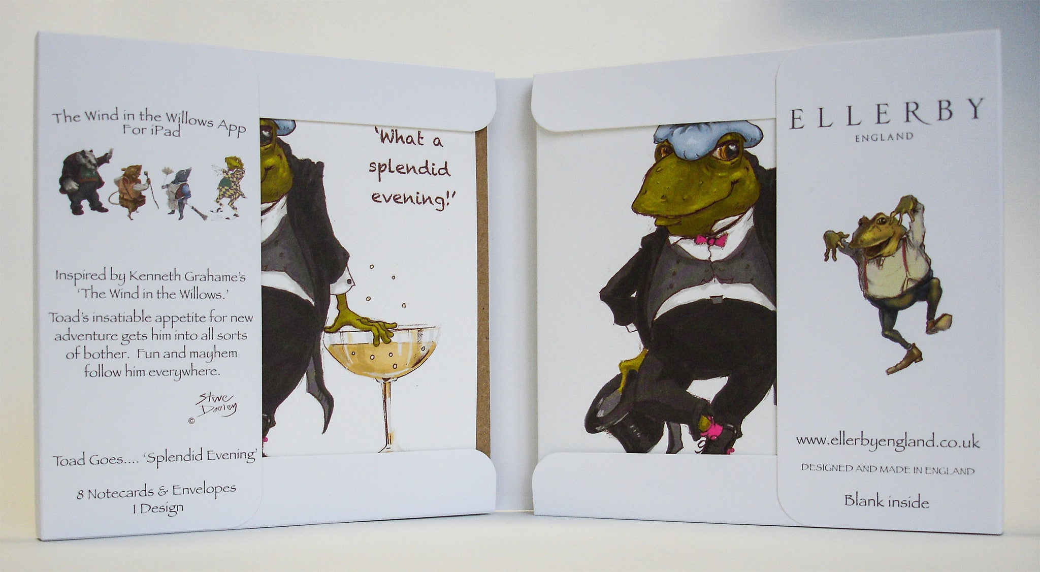 Toad Goes... 'Splendid Evening' - Set of 8 Note Cards - Ellerby England