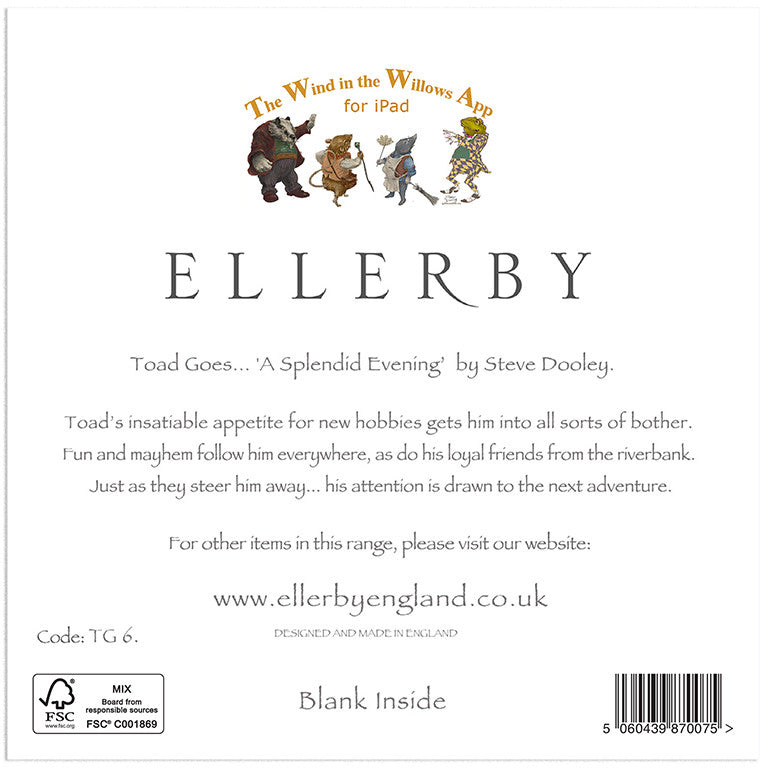 Toad Goes... 'Splendid Evening' - Greetings Card - Ellerby England