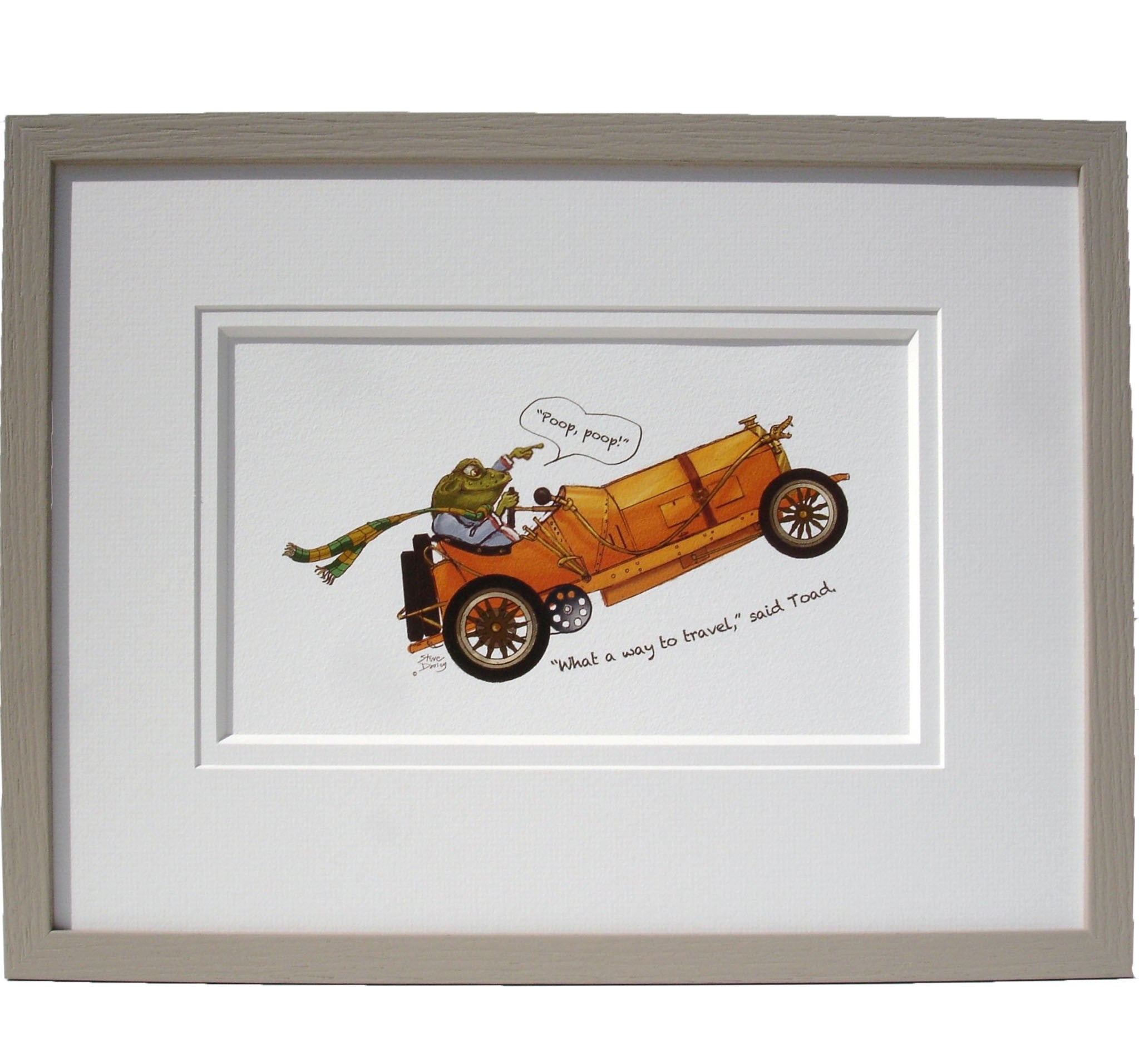 Toad in his Motor Car - Wind in the Willows Nursery Print - Ellerby England