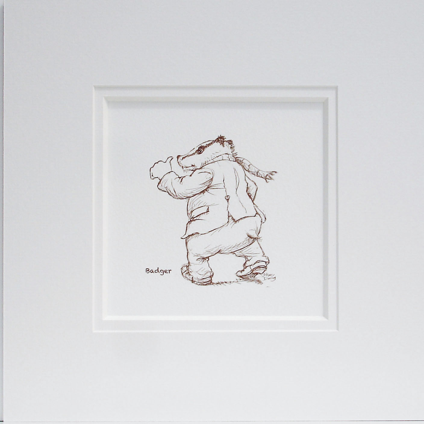 Badger Sketch Nursery Print - Ellerby England
