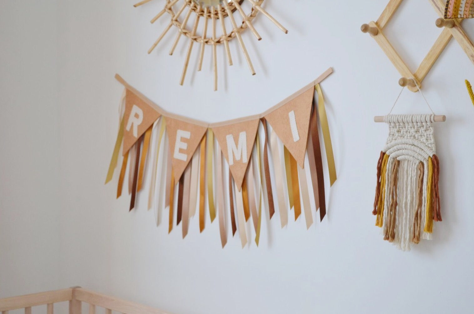 Boho personalised baby name bunting