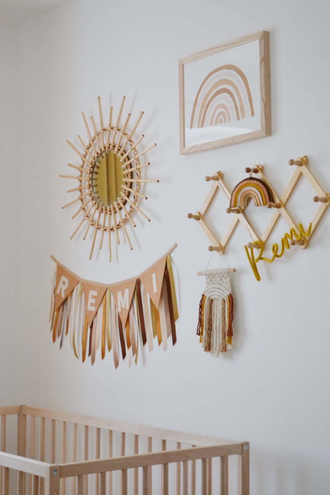 Earthy tones muted rainbow boho nursery