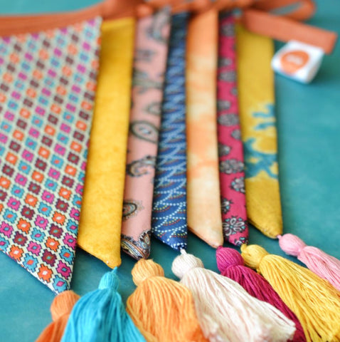 Copy of Colourful Boho Wedding Tassel Bunting Garland in Hot Summer Colours