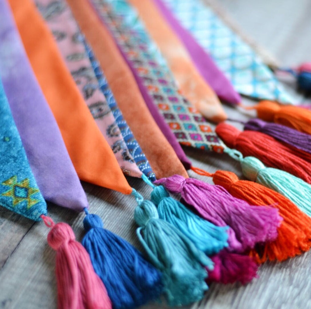 Tassel Bunting Garland in Blues, Oranges, Purples, Pink Mix, Home or Bedroom Decor