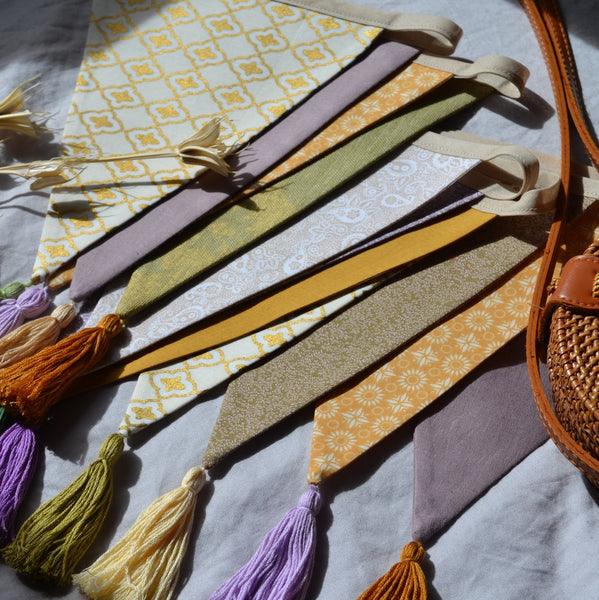 Tassel Bunting Garland in Lilac, Sage, Mustard, Boho Home or Bedroom Decor