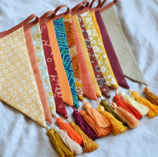 Tassel Bunting Garland in Autumn Spice, Boho Home or Bedroom Decor