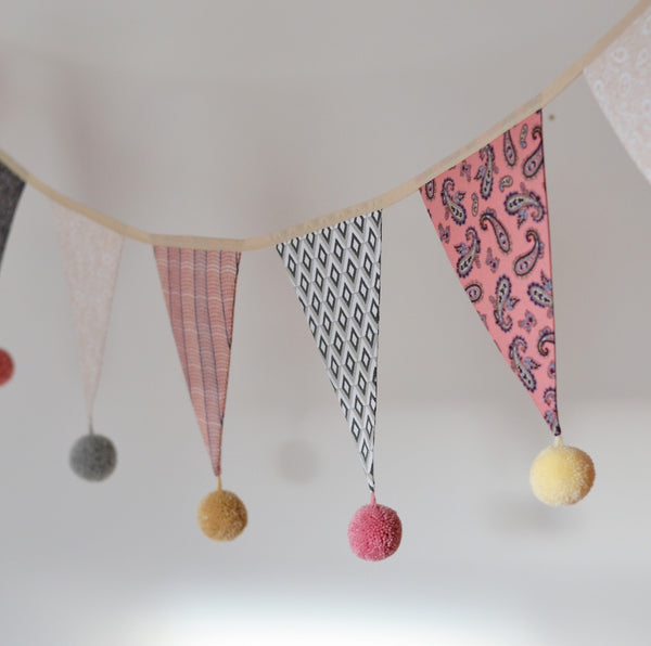 Boho Pom-Pom Garland Bunting in Pinks and Greys