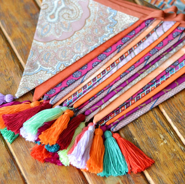 Tassel Bunting Garland in Hot Pinks and Oranges, Home or Bedroom Decor