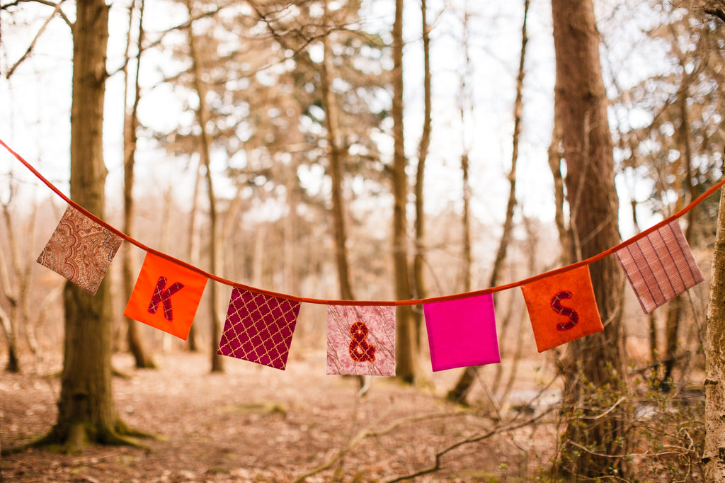 Personalised Square Wedding Bunting With Initials