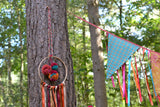 Hanging Boho Dreamcatcher Decoration With Ribbon And Pom-Poms