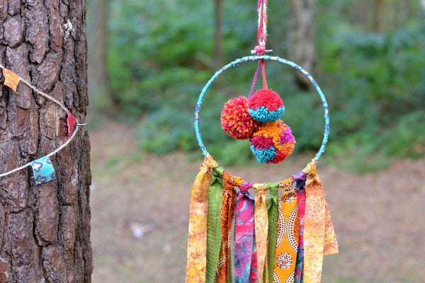 Hanging Boho Dream Catcher Decoration With Pom-Poms