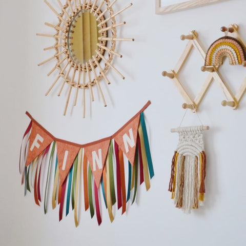 Boho Baby Nursery Room Bunting in Muted Rainbow