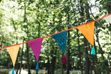 Colourful Boho Wedding Tassel Bunting Garland in Hot Summer Colours