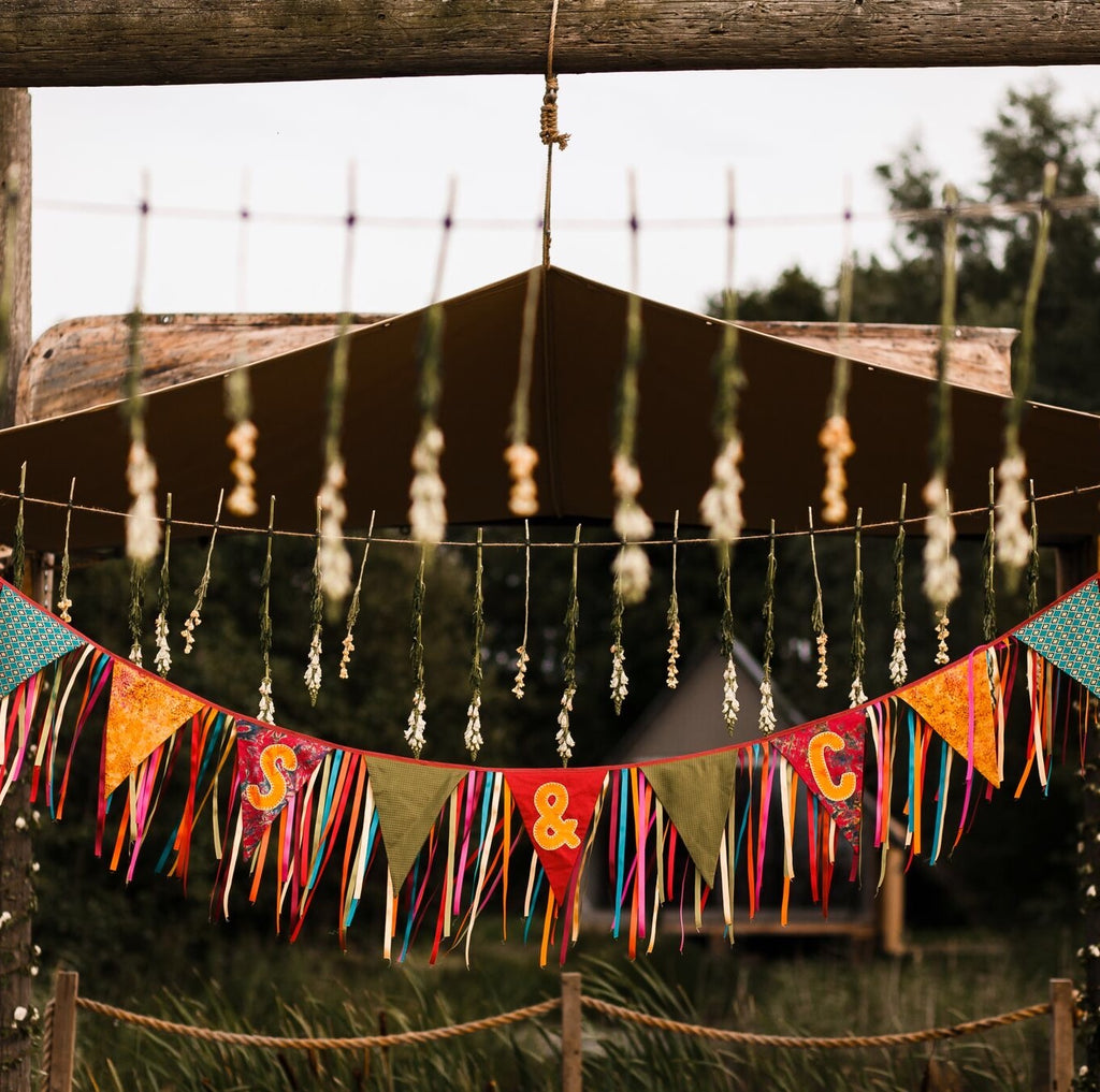 Alternative Boho Wedding Bunting With Ribbon