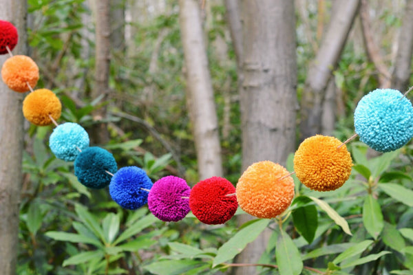 Boho Rainbow Wedding Pom Pom Garland