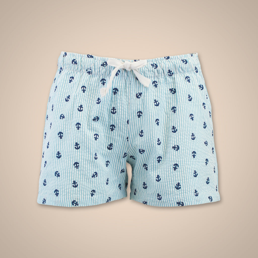 Seersucker Anchors Shorts - Lagoon Blue