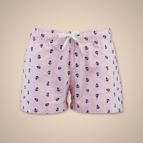 Seersucker Anchors Shorts - Neon Pink