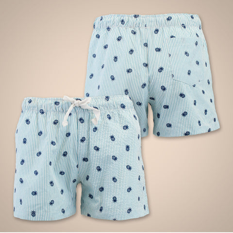 Seersucker Pineapple Shorts - Lagoon Blue