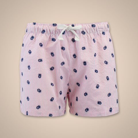 Seersucker Pineapple Shorts - Neon Pink