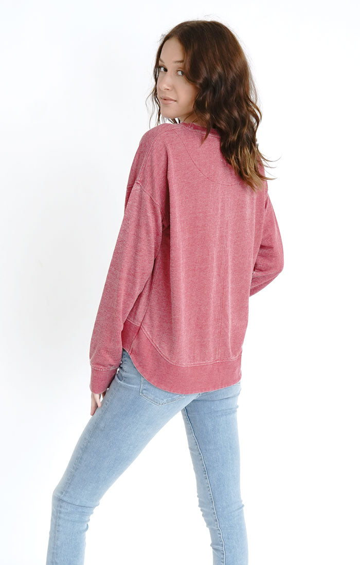 Vintage High-Low Terry Pullover