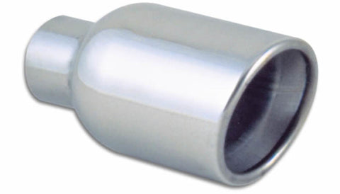 Vibrant 4in Round SS Exhaust Tip (Double Wall Resonated Angle Cut Rolled Edge)