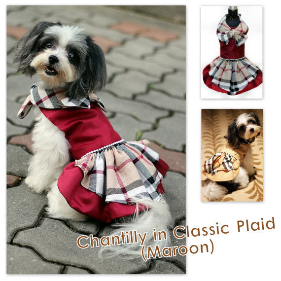 Chantily in Classic Plaid Dress (Maroon)