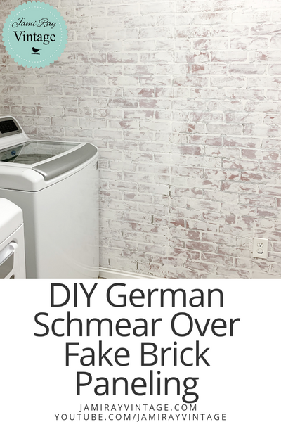 DIY German Schmear Over Brick Paneling | Laundry Room Makeover