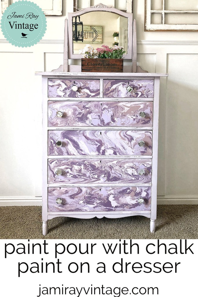 Paint Pour With Chalk Paint On A Dresser | YouTube Video