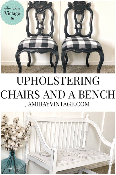 Upholstering Chairs And A Bench From Our Thrift Store Haul | YouTube Video