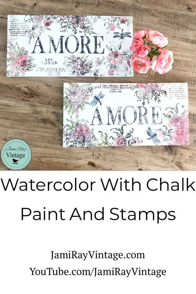 Watercolor with Chalk Paint and Stamps