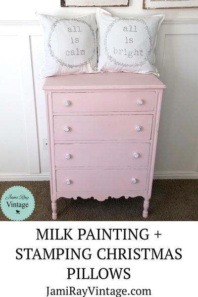 Milk Painting + Stamping Christmas Pillows