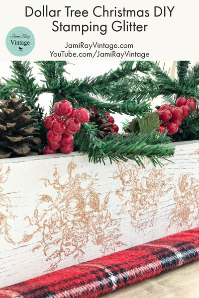 Dollar Tree Christmas DIY | Stamping Glitter
