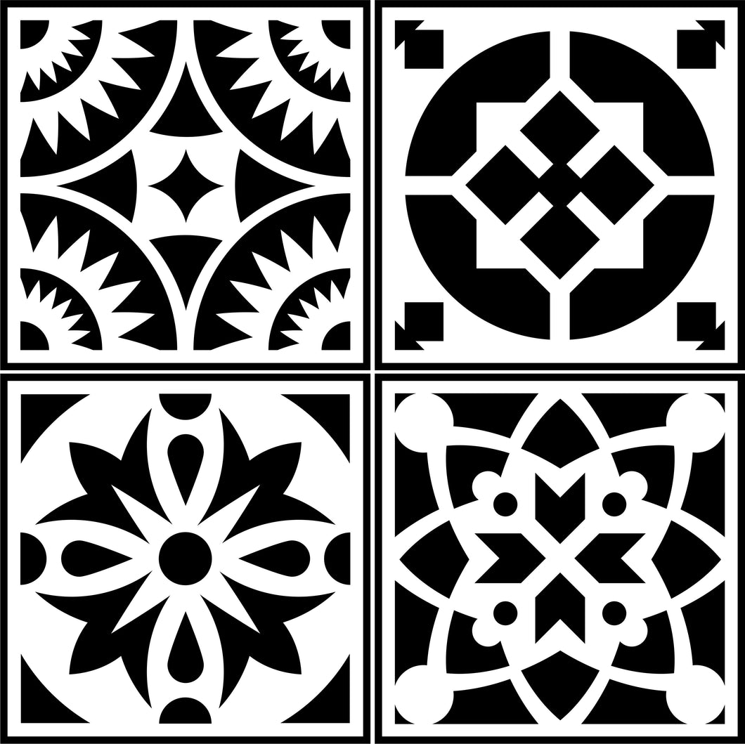 Spanish Tile 4 Pack | JRV Stencils